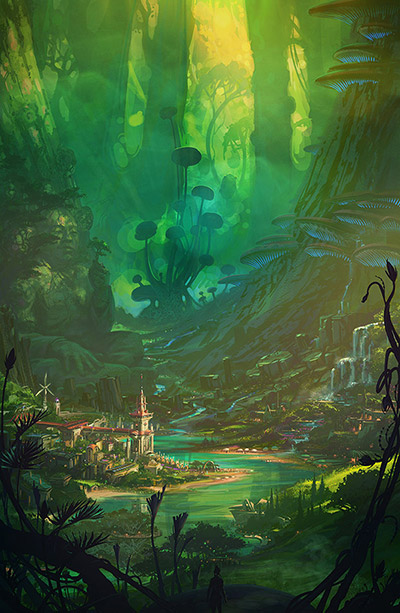 Concept Poster for Regeneration Earth. Lush green with far away peaceful cityscape.